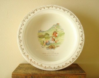 Antique English baby dish, Holdfast of Liverpool feeding dish, Jack & Jill, new baby shower gift, Grand View Furniture, Kansas City, Kansas