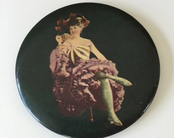French Cancan Dancer Risque Celluloid Pocket Mirror Vintage