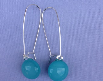 Turquoise Fused Glass Sterling Silver Long Danglies Earrings
