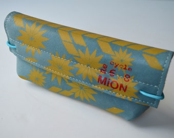Leather case for pens or glasses (blue leather with yellow print)