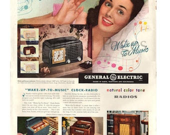 1947 General Electric Radios Vintage Ad, Retro Radio, Advertising Art, 1940's Housewife, 1940's Clock-Radio, 1940's Decor, Great for Framing