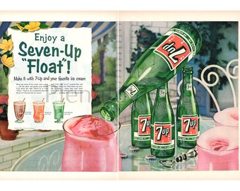 1956 7-Up Vintage Ad, 7-Up Float, 1950's Dessert, Advertising Art, 1950's Patio, Ice Cream Floats, Retro Ad, Great for Framing or Collage.