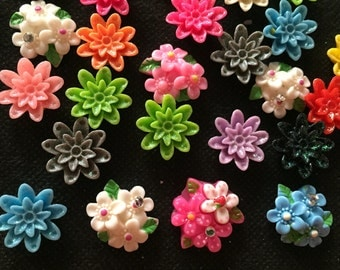 20 pcs Mix flower cabochon flatback for crafts findings