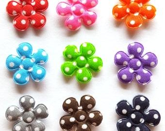 100 pcs - Polka Dot Flower Padded Appliques -  9 colors - size 20 mm