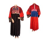 RESERVED - Vintage 1960s Tribal Hippie Dress - Size S / M
