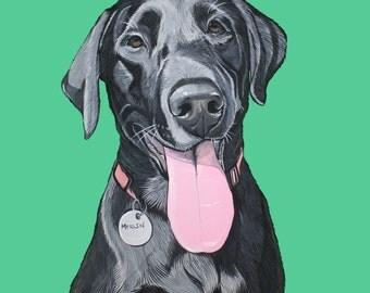 Custom Dog portrait -  Dog illustration - Dog memorial - Gift for dog lovers -Pet portraits - 8x8 inch