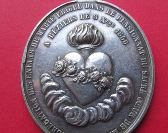 Silver Heart Of The Virgin Mary With Roses French Antique Religious Medal Catholic Pendant Dated 1858   SS16