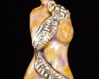 Brown Rust Gold Crystalline Glazed Porcelain Goddess Torso Pendant