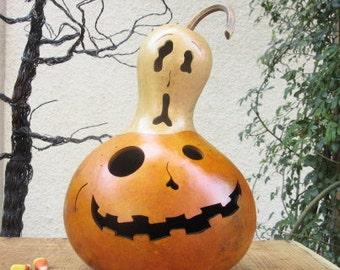 Halloween Gourd Jack O Lantern Ghost Top Primitive Pumpkin Decoration