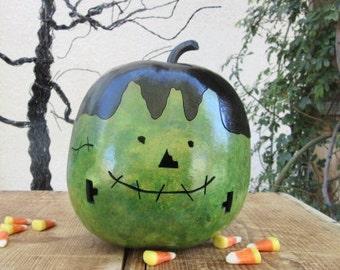 Halloween Gourd Frankenstein Jack O Lantern Primitive Pumpkin Decoration