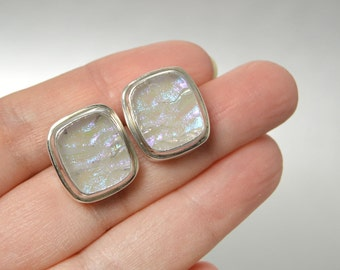 Square Opal Iridescent Dichroic Glass Earrings Encased In Sterling Silver Frames Rainbow Moonstone Earrings, Square Silver Earrings