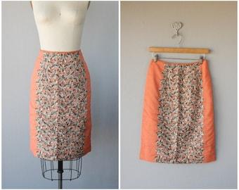 Vintage 1960s Skirt | Lace Skirt | 60s Skirt | Knee Length Pencil Skirt | Chiffon Skirt