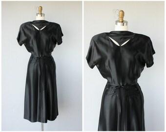 Vintage 1940s Cocktail Dress | Vintage 40s Dress | 40s Silk Dress | Black 40s Dress