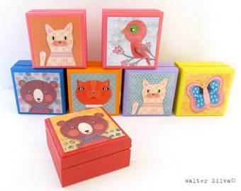 Assorted Animal Wood Keepsake Boxes - Bird - Cat - Bear - Tabby Cat - Butterfly - Assorted Wooden Animal Keepsake Boxes - Birthday Gift