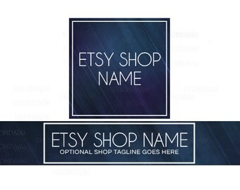 Etsy Shop Banners - Etsy Banners - Modern Etsy Banners - Blue Etsy Shop Banners - Etsy Banner Sets - 2 Piece - 4-16