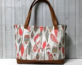 Grey and Coral Feathers with Faux Leather -Tote Bag /  Diaper Tote /  Medium Bag