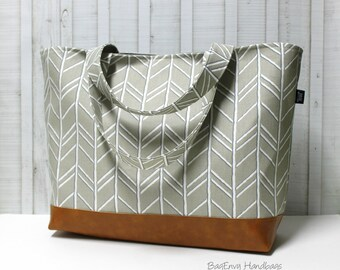 Diaper Tote /  Overnight Bag / Travel Bag - Herringbone Cove Grey with Vegan Leather - Large / XLarge Tote Bag