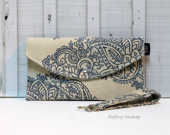 Mandala Paisley - Clutch and Key Chain / Key Fob Set - Or Custom Design To Match Your Bag