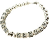 Mothers Bracelet in sterling silver with child/ children's names- great gift, in all sizes