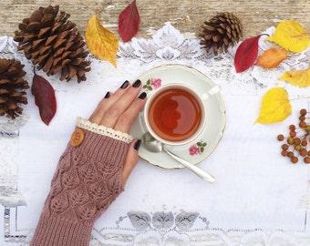 Fingerless Gloves, Knit Fingerless Gloves, Dusty Lavender Fingerless Gloves, Half Finger Gloves, Winter Gloves, Mittens, Lace Gloves