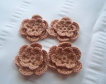 Crochet motif set of 4 flowers 1.5 inch tan light blrown crochet flower embellishment