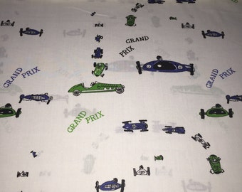 "SALE OP 60s Wamsutta Original Design ""Grand Prix"" Motorway Novelty Print//Emerald Green and Navy Blue Cars//White Grnd//Cotton Blend"