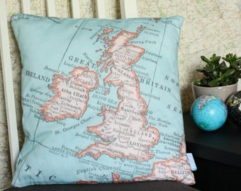 United Kingdom Vintage Map Cushion or Pillow