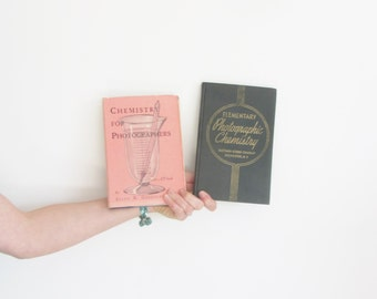 1936 1946 photographic chemistry book set . vintage pink art deco gift lot of two .sale