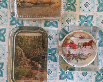 Lot of 3 Vintage Glass Paperweights