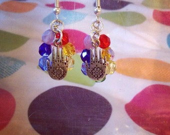 Hand of Fatima Chakra Earrings