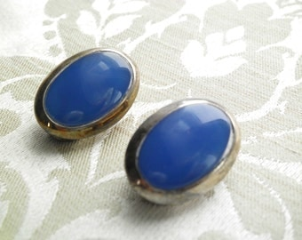 Vintage Sterling Silver Blue Inset Clip On Earrings