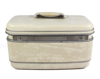 Vintage Cream Samsonite Train Case - Silhouette, Style 1512