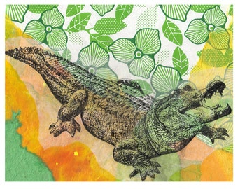Alligator Animal Art Print From Original Painting 8 X 10 Art Print Wall Art Decor
