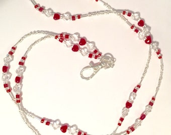 Red and Crystal Valentine Heart Lanyard ID Tag Holder