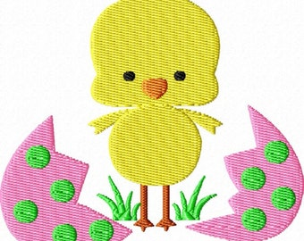 Easter Egg  Baby Chick Machine Embroidery Design Single