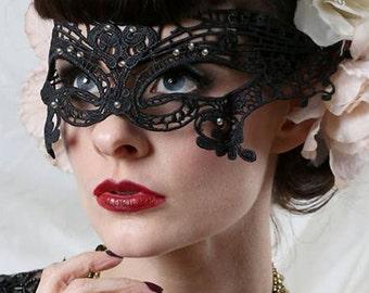 Black lace masquerade mask - Filigree Venetian mask - Crystal gems mask - Masquerade veil.