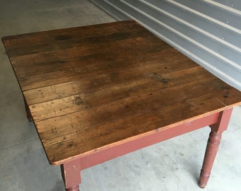 Primitive walnut farm table old red paint 50w42d22.5h29.5h Shipping is Not Free