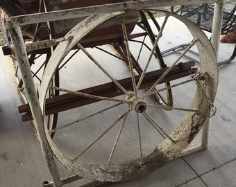 Antique Iron Gate Wheel 38h38w fence Architectural Salvage Shipping is NOT FREE!