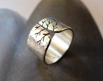 Fall tree ring, Sterling silver ring, wide band ring, metalwork jewelry, hammered finish, unique for woman, gift for wife, graduation gift