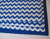 Blue and White Chevron Placemats Reversible Set of 4 or 6 Zig Zag Royal Blue Chevron Placemats Blue and White Kitchen Decor Royal Blue Mats