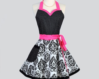 Sweetheart Retro Womans Apron . Flirty Sexy Cute Hostess Apron in Vintage Pink Black Damask Polka Dot Full Kitchen Cooking Womens Aprons