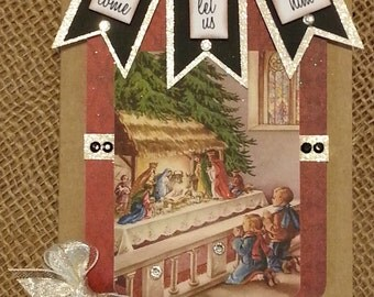 Vintage Nativity Christmas Card / Let Us Adore Him / Handmade Card / Gorgeous / Gift Card Holder / 3 Day Ship