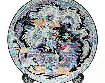 Mother of Pearl Inlay Art Decorative Double Dragon Ball Shell Home Deco Accent Housewarming Gift Round Circle Wood Stand Plate Platter Dish