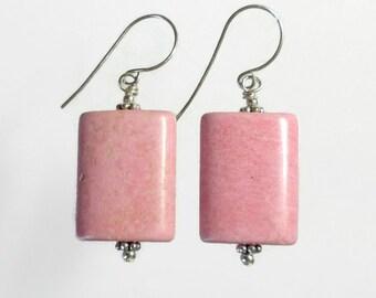 Pink Drop Earrings Pink Stone Earrings Light Pink Earrings Pink Earrings Sterling Silver