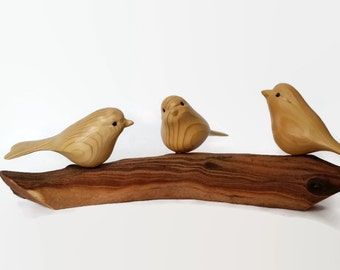 Three Little Birds Wood Carving, 3 Sisters, Three Friends, Gift for Mom, Bird Art hand made