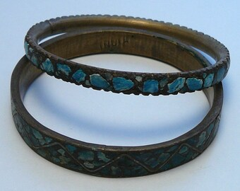 Tribal Turquoise Brass Bracelets India