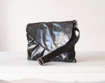 Black leather purse, clutch envelope clutch crossbody bag handbag crossover purse large clutch bag - Erato clutch
