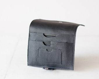 Large phone wallet in black leather, carry all wallet clutch slim large women bifold  case foldover - Iole Wallet
