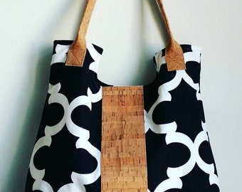 Tote bag with cork, Cork handbag, Water resistant cork bag by Nobel King, Black cork tote bag, Vegan tote,Eco friendly