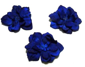 Royal blue Delphinium Silk flower DIY wedding 3 pcs Artificial Silk Orchid Flower Heads Fabric Silk Flowers Hair Clips Crafts something blue